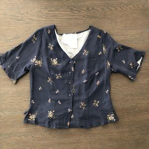 💐Elodie Navy Blue Top w/Back Tie Size S